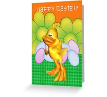 Easter Card With Chick Eggs And Bright Flowers Greeting Card