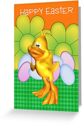 Easter Card With Chick Eggs And Bright Flowers by Moonlake