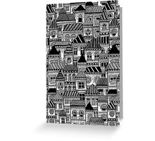 Black and White Busy Body Houses Greeting Card