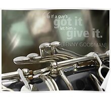 Clarinet image with Benny Goodman quote Poster
