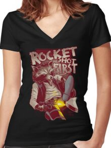 First Shot Parody Women's Fitted V-Neck T-Shirt