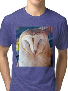 Sleeping Barn Owl Tri-blend T-Shirt