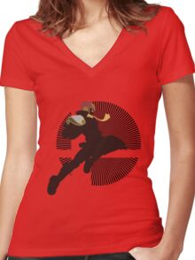 Captain Falcon (Smash 4, Knee of Justice) - Sunset Shores Women's Fitted V-Neck T-Shirt