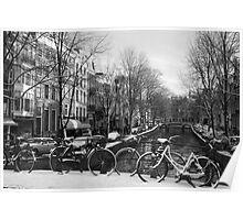 Snowy Amsterdam Poster