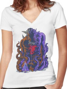 Demon and Child Women's Fitted V-Neck T-Shirt