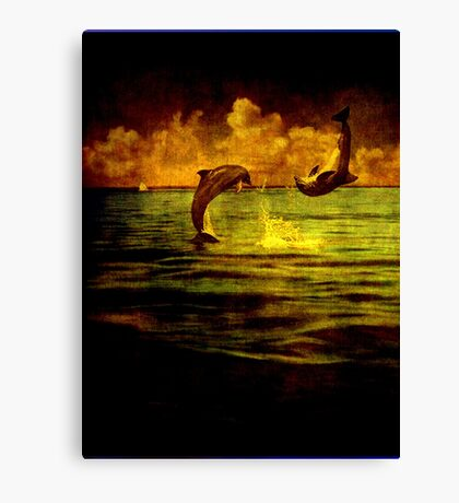 Dolphins jumping Canvas Print
