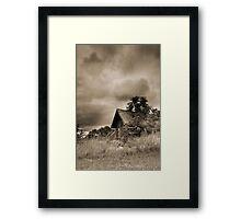 Scenic Landscape In Sepia Framed Print