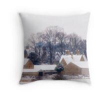 Village in Snow Throw Pillow