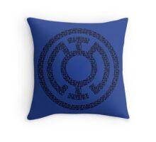 Blue Lantern Oath (Black) Throw Pillow