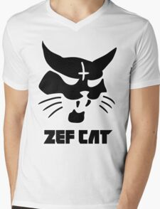 Zefcat (black) Mens V-Neck T-Shirt