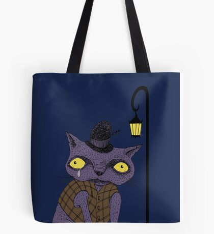 Sad Cat with Moonlight Memories Tote Bag