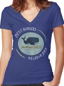 Two Whales Diner Tee (lighter) Women's Fitted V-Neck T-Shirt