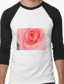 Peach Rose Blossom Men's Baseball ¾ T-Shirt