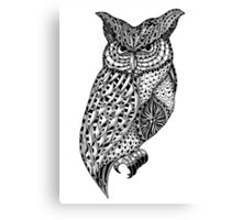 Barn owl bird black and white ornate illustration Canvas Print