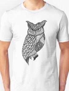 Barn owl bird black and white ornate illustration T-Shirt