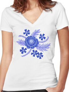 Blue Peony Women's Fitted V-Neck T-Shirt
