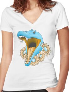 Spino-Florist Women's Fitted V-Neck T-Shirt