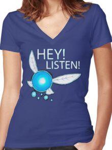 Navi!  HEY! LISTEN! Women's Fitted V-Neck T-Shirt