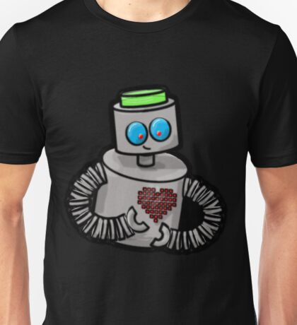 Robot with Pixel Heart Unisex T-Shirt