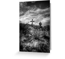 Distant Cross-Black and White Greeting Card