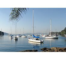 Silver Sunrise on boats at Mosman Bay Photographic Print
