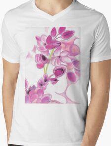 Psychedelic Pink Florals Mens V-Neck T-Shirt