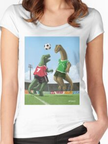 dinosaur football sport game Women's Fitted Scoop T-Shirt