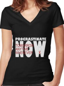 Procrastinate on black Women's Fitted V-Neck T-Shirt