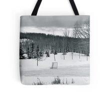 Black and White Pond Hockey Tote Bag