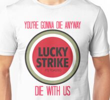 mad men lucky strike ad - red text Unisex T-Shirt