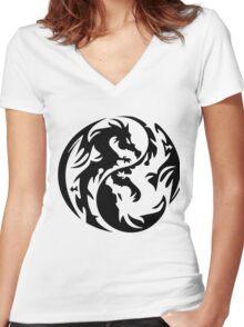 Dragon yin yang. Women's Fitted V-Neck T-Shirt