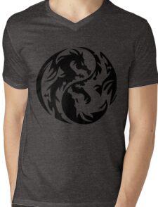 Dragon yin yang. Mens V-Neck T-Shirt