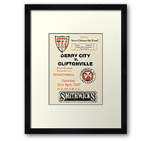 Derry City vs Cliftonville Retro Match Programme Framed Print