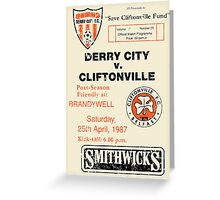 Derry City vs Cliftonville Retro Match Programme Greeting Card