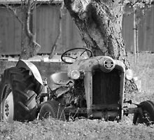 Woodside tractor in the orchard - Black and White by Rob  Holcomb
