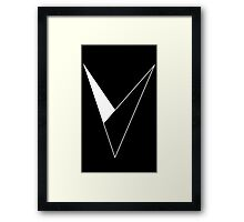 V White Framed Print