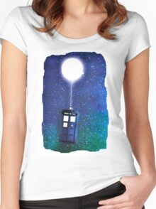 Doctor Who ~  Flying Tardis Women's Fitted Scoop T-Shirt