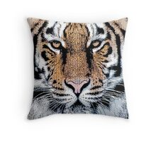 Tiger Portrait in Graphic Press Style Throw Pillow