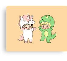 Dinosaurs vs. Unicorns Canvas Print