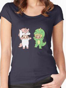 Dinosaurs vs. Unicorns Women's Fitted Scoop T-Shirt