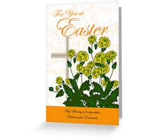 Easter Card With Yellow Roses Greeting Card