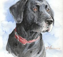 Black Lab watercolor portrait by Mike Theuer
