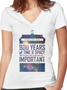 900 Years of Time and Space Women's Fitted V-Neck T-Shirt