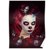 Sugar Doll Red Dia De Muertos Poster