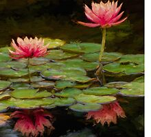 Impressions of pink lilies by Celeste Mookherjee