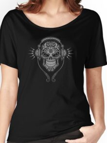Gray and Black DJ Sugar Skull Women's Relaxed Fit T-Shirt