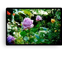 Naik Michel Photography - Hortensia House Garden Purple Flower Roses 001 Canvas Print