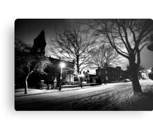 Saltaire Snow Scene at Night Metal Print