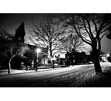 Saltaire Snow Scene at Night Photographic Print