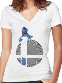 Mega Man, Hard Knuckle - Sunset Shores Women's Fitted V-Neck T-Shirt
